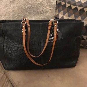 Coach Black Pebbled Leather Tote - Diaper bag